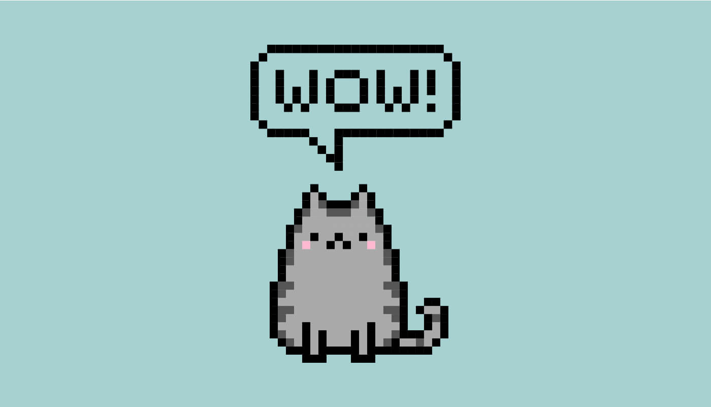 vector illustration of grey cat saying 'wow'