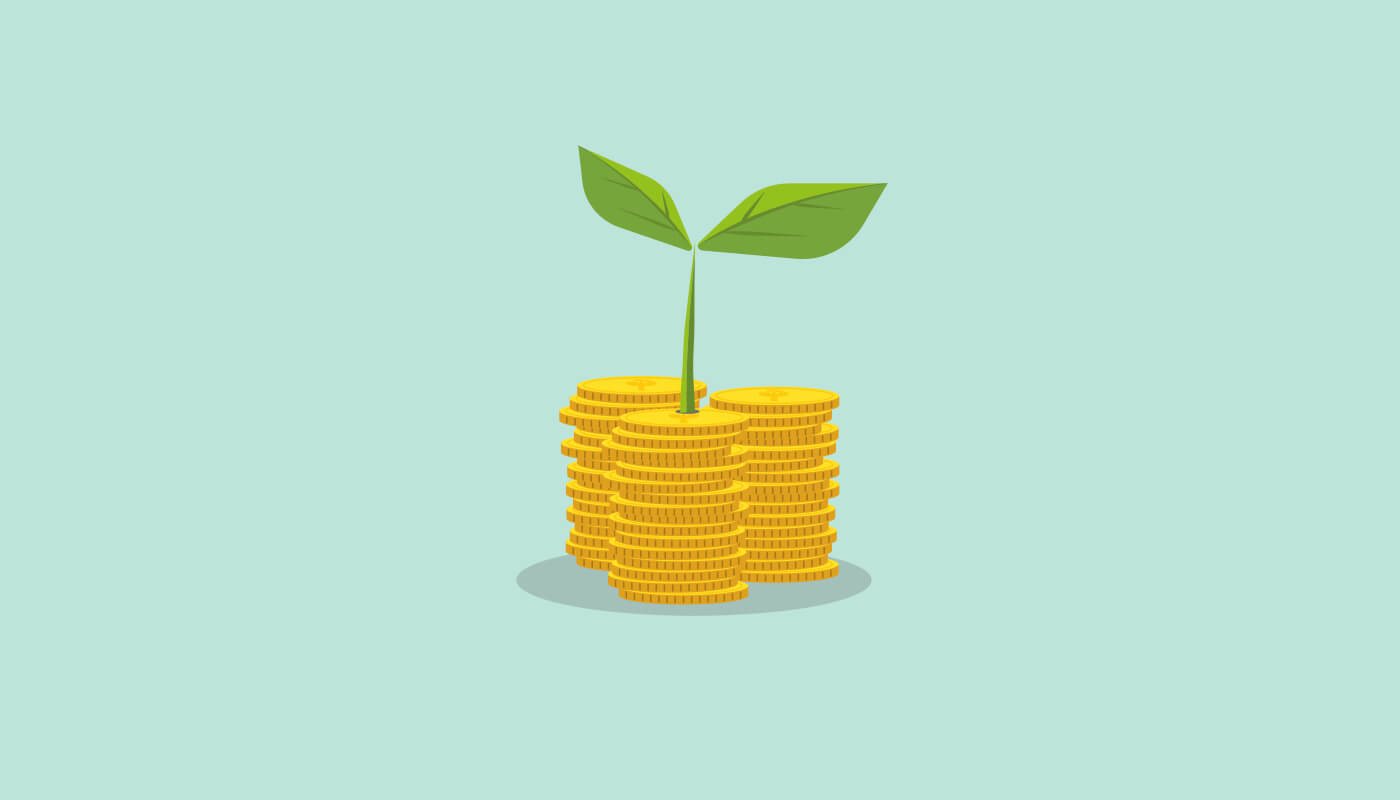 Vector image of three piles of gold coins stacked, with seedling on top