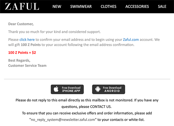 Screenshot of Zaful welcome confirmation email