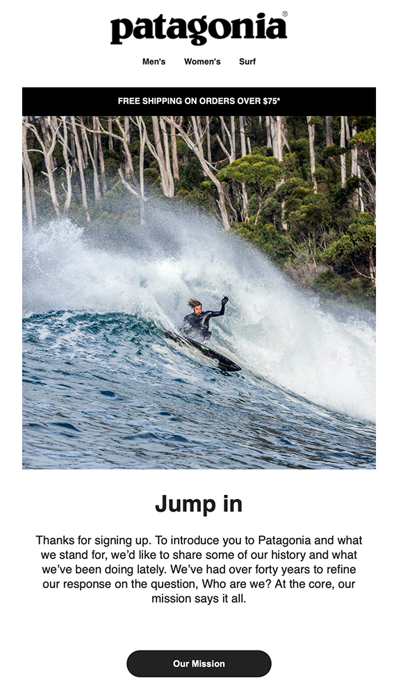Screenshot of Patagonia welcome email with man on surfboard