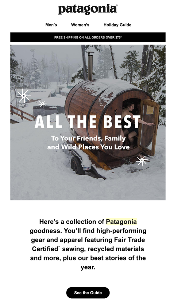 Screenshot of Patagonia welcome email with barrel in snow