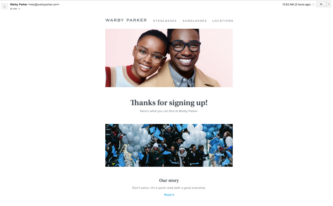 Screenshot of Warby Parker welcome email