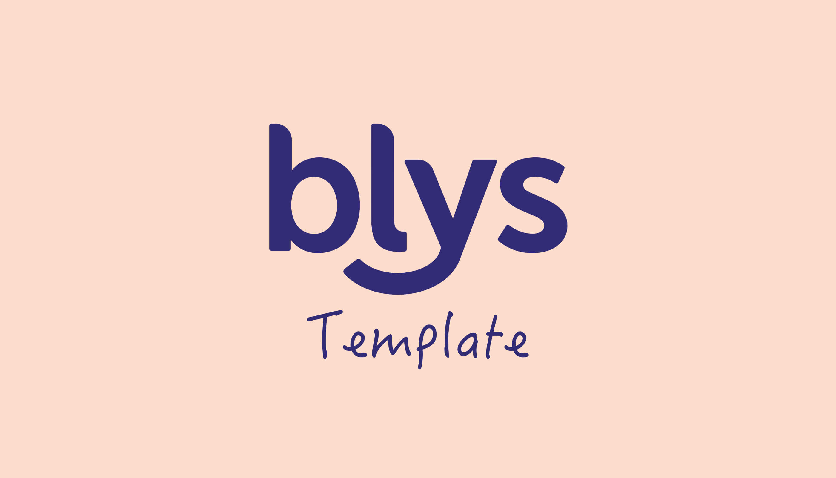 Blys logo with the word template against pale pink background