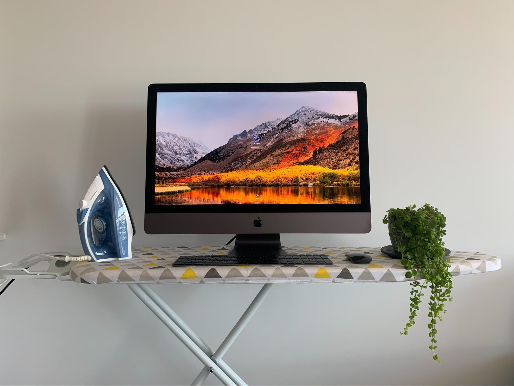 Computer on ironing board with iron and office plant for funny work from home setup