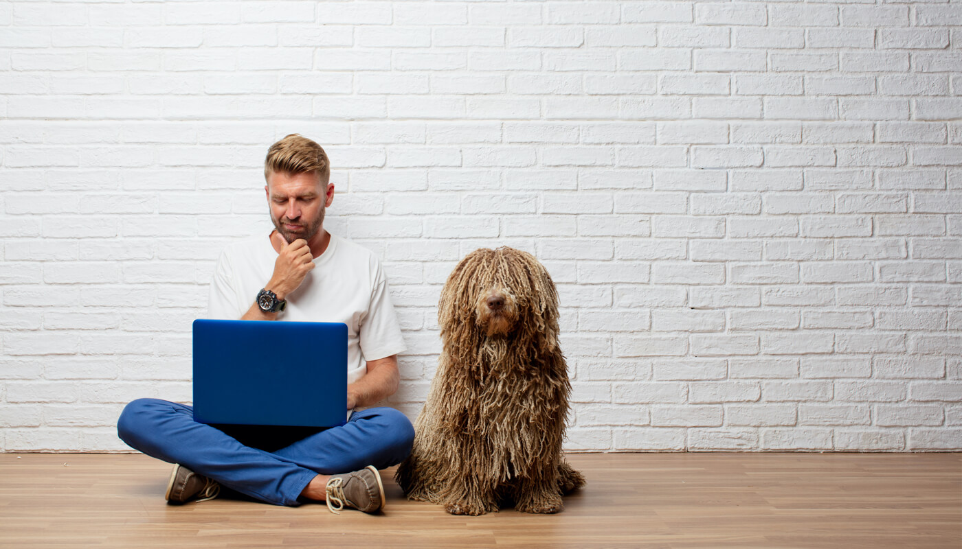 man sitting cross-legged on the ground, working on a laptop, with a dog sitting beside him