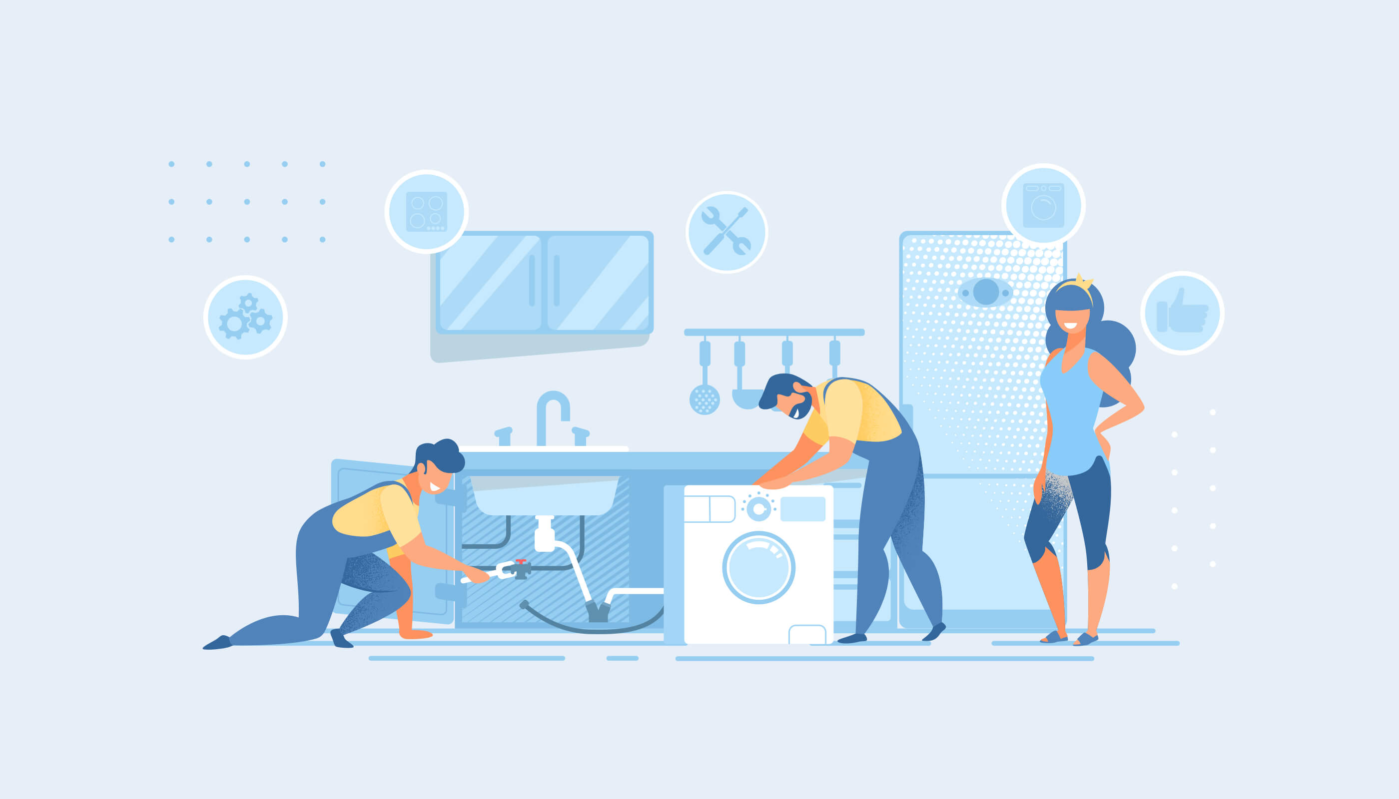 illustration of tradespeople working to repair a kitchen