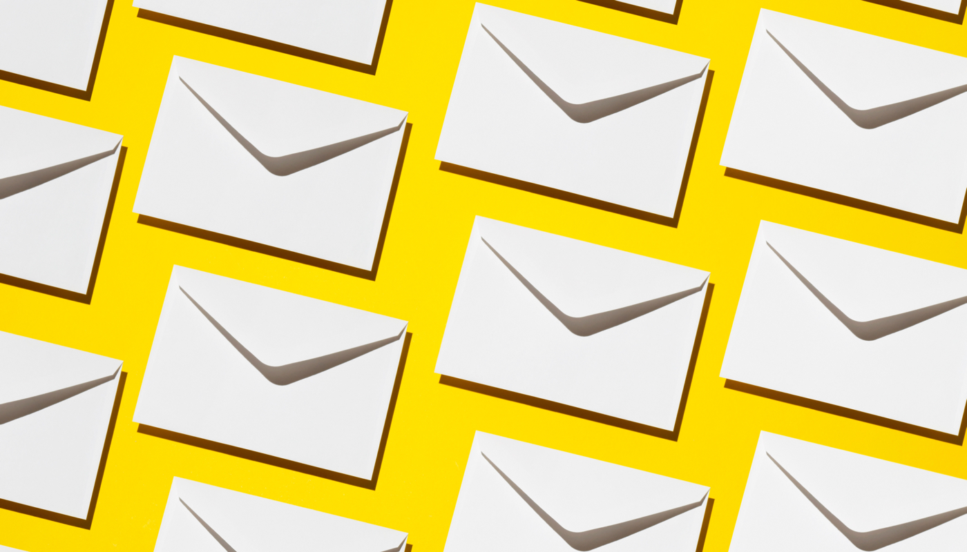 envelopes on a yellow background