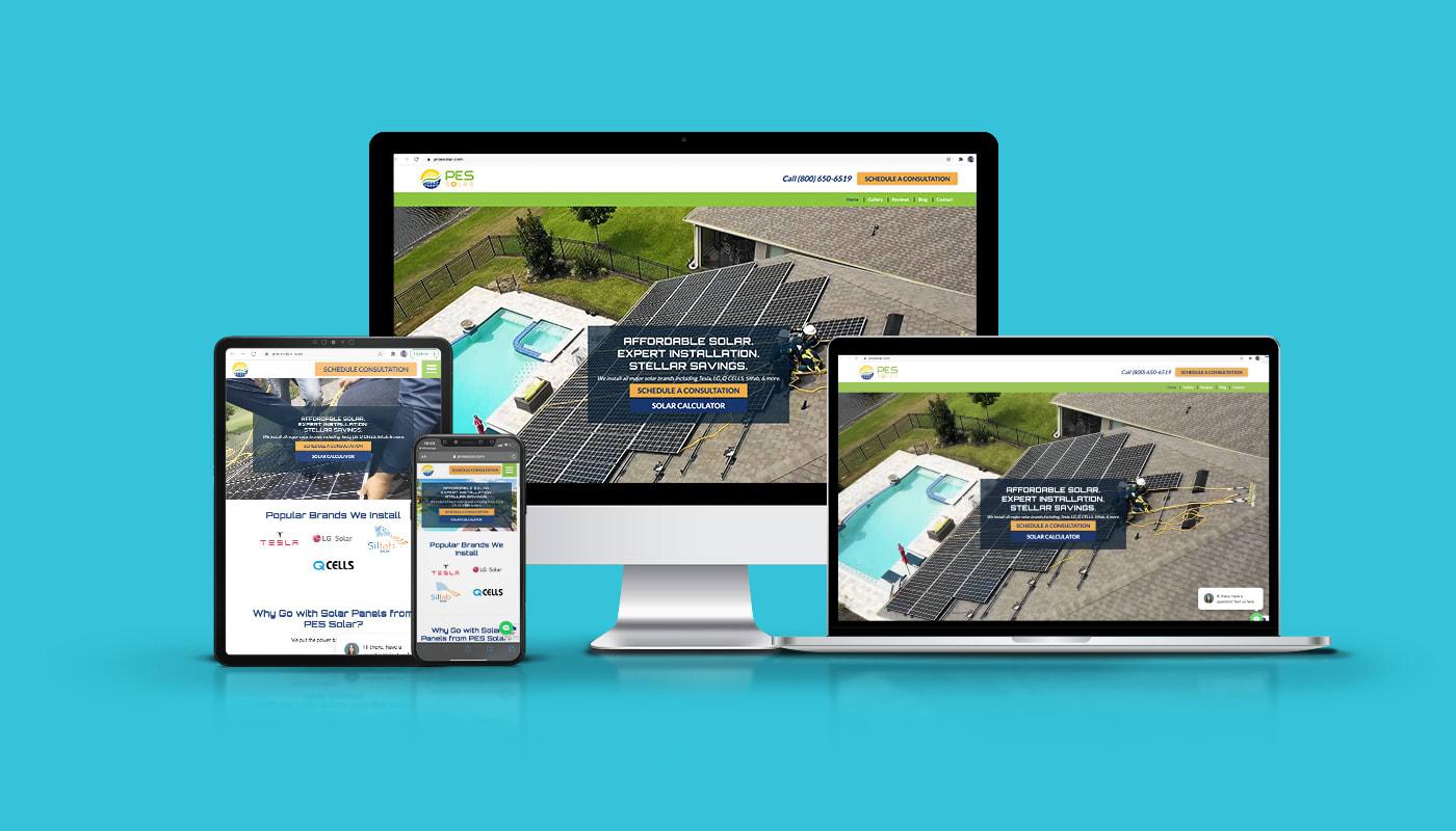 PES Solar Custom WordPress Website