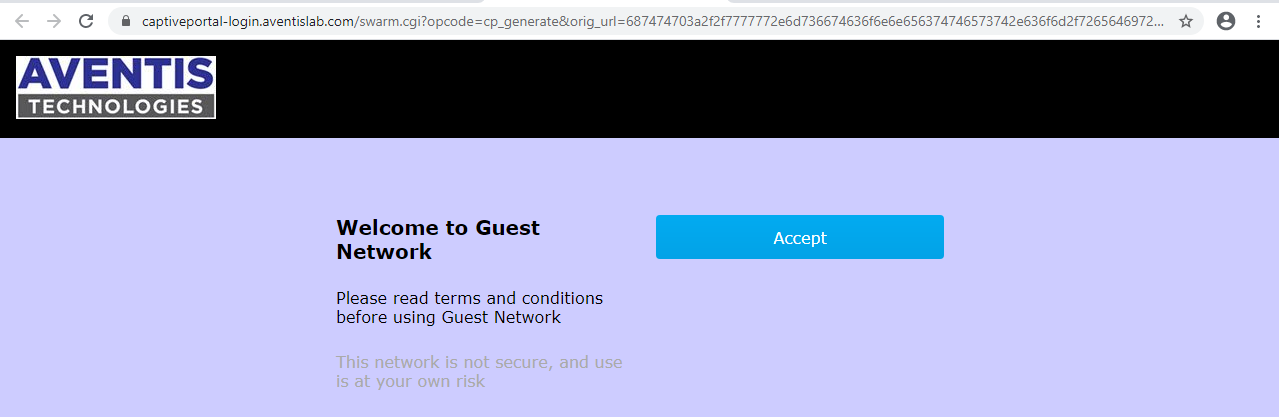 Captive Portal for Guest with Aruba
