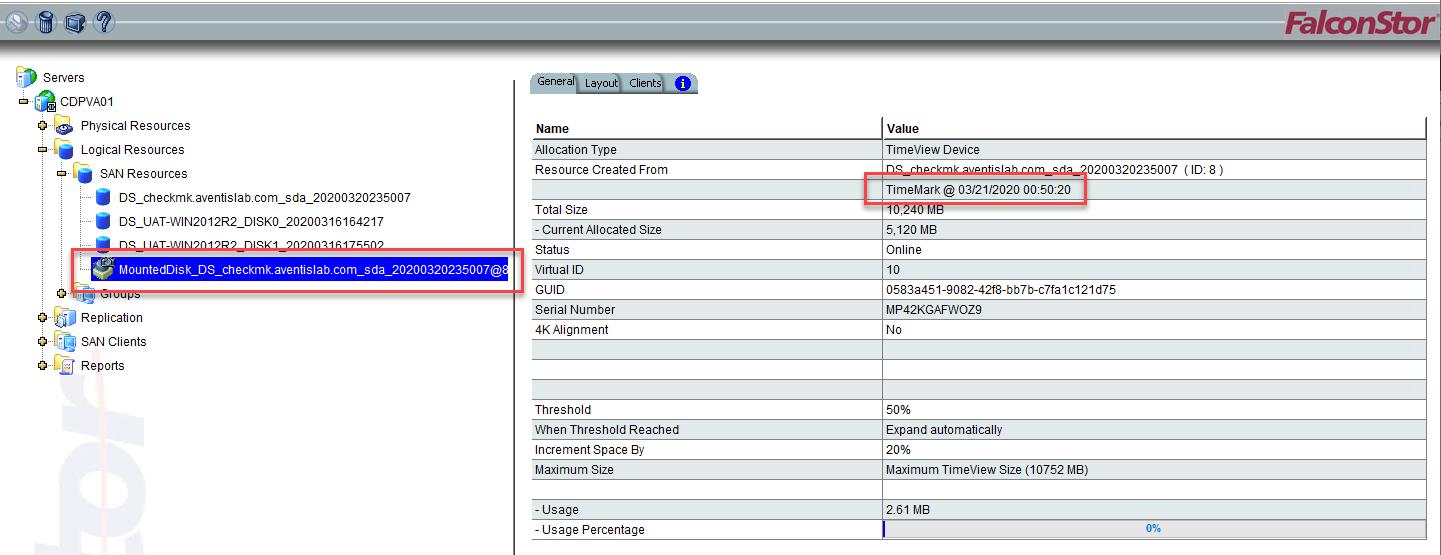 Restore Data using DiskSafe for CentOS