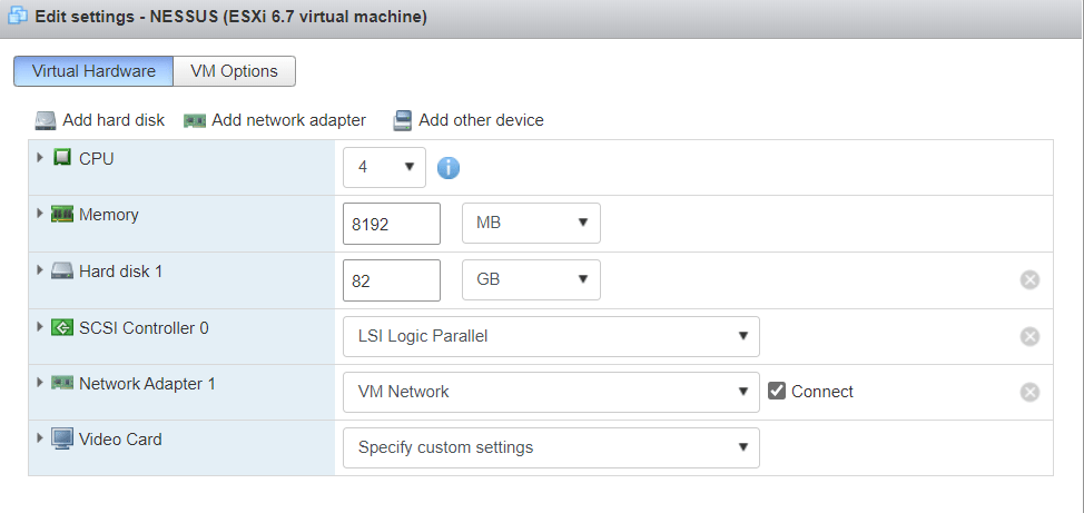 Setup Tenable Core + Nessus on VMware ESXi
