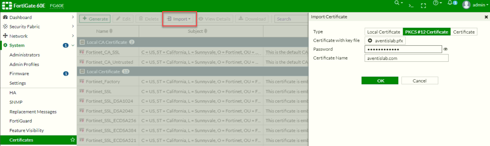 Import SSL Certificate to FortiGate