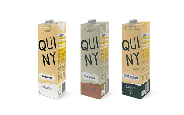 three boxes of quiny quinoa milk, naturally flavoured, chocolate and barista milk