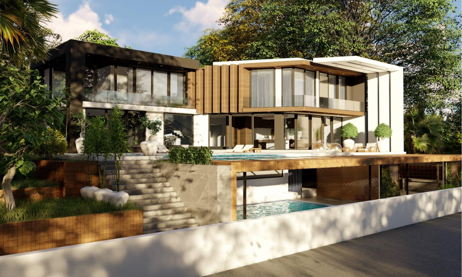 Yukarı Girne'de 7+1 Satılık Dağ, Deniz ve Orman Manzaralı Lüks Villa 5089