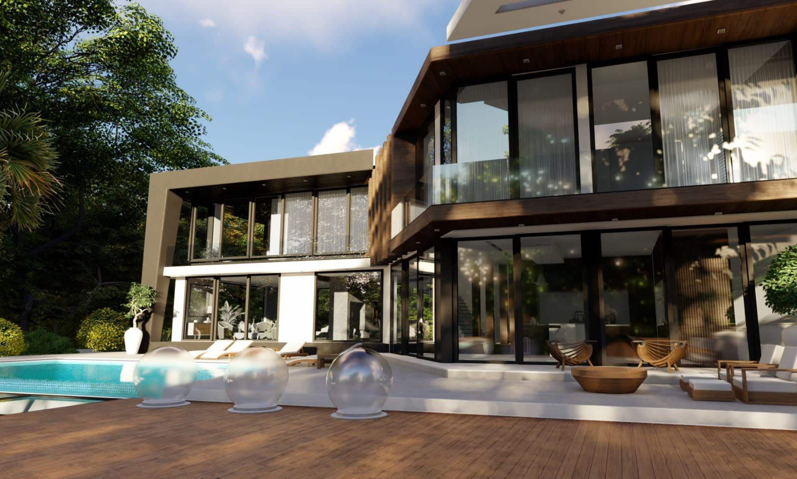 Yukarı Girne'de 7+1 Satılık Dağ, Deniz ve Orman Manzaralı Lüks Villa 5095