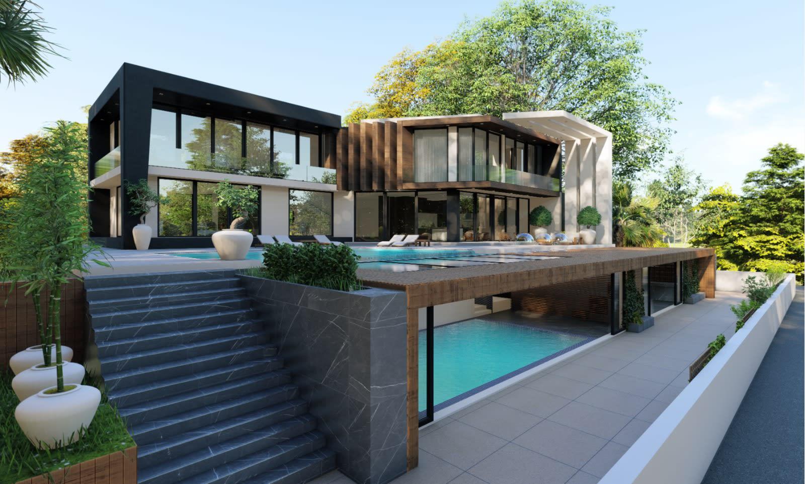 Yukarı Girne'de 7+1 Satılık Dağ, Deniz ve Orman Manzaralı Lüks Villa 5101
