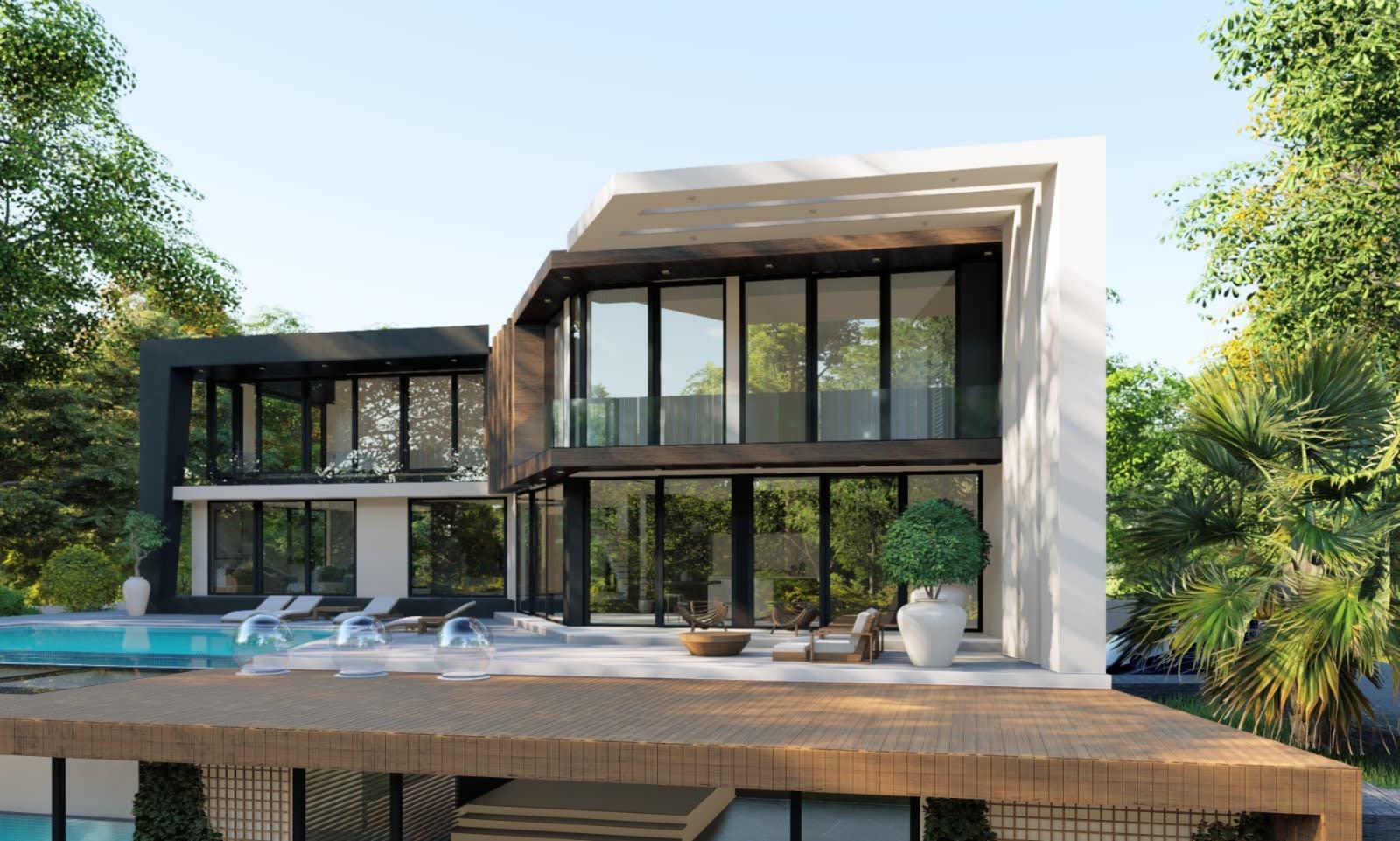 Yukarı Girne'de 7+1 Satılık Dağ, Deniz ve Orman Manzaralı Lüks Villa 5105