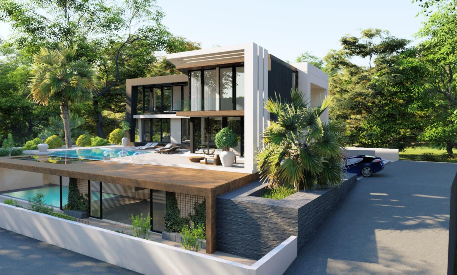 Yukarı Girne'de 7+1 Satılık Dağ, Deniz ve Orman Manzaralı Lüks Villa 5108