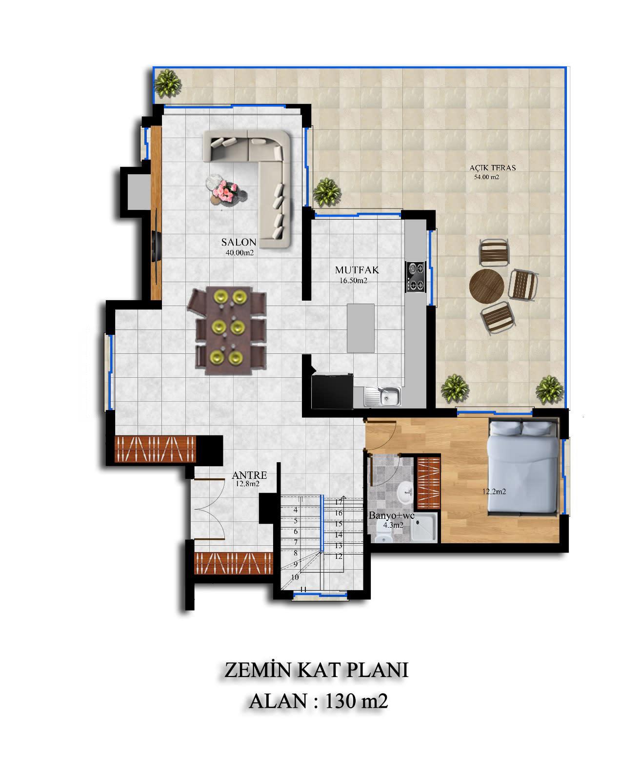 Karmi'de Satılık Lüks 4 Yatak Odalı Villa Projesi 9313