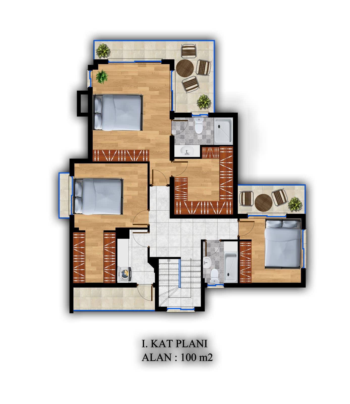 Karmi'de Satılık Lüks 4 Yatak Odalı Villa Projesi 9314