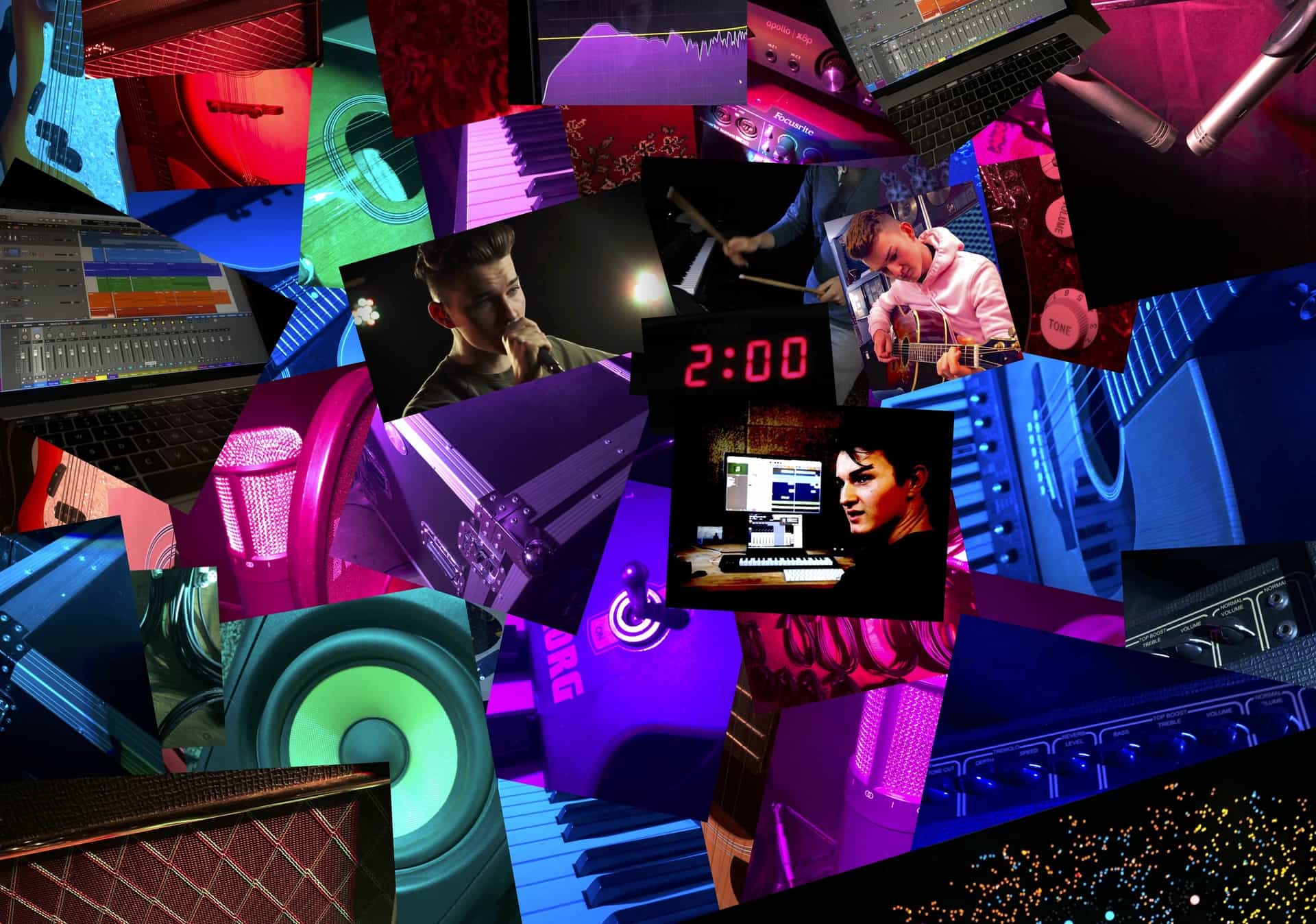 2AM in the Basement, main banner image, a collage of musical instruments