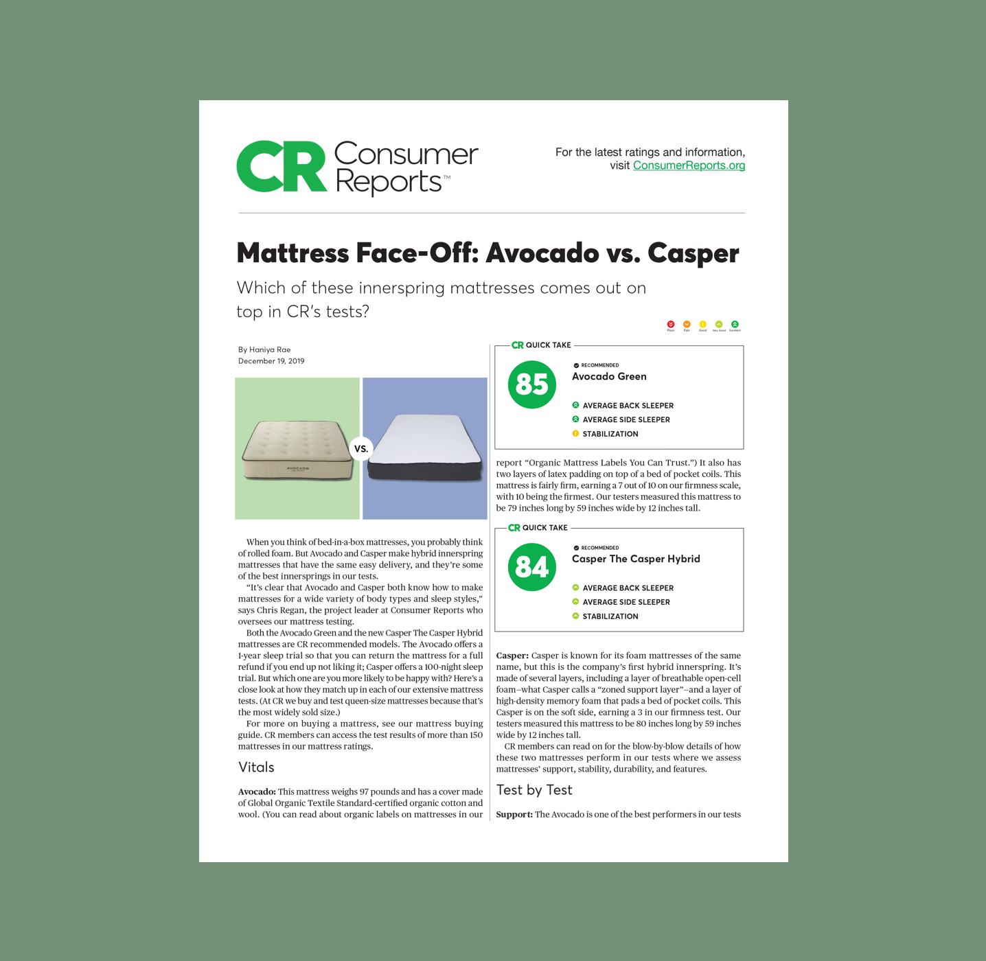 Consumer Reports Mattress Face-Off Avocado vs Casper