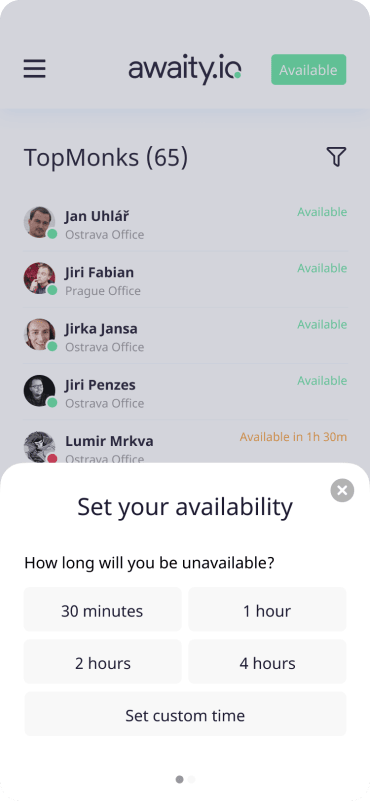 awaity.io mobile app screenshot - meeting schedule screen