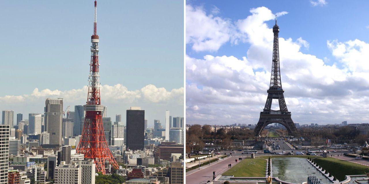 Eiffelturm in Tokio und Paris