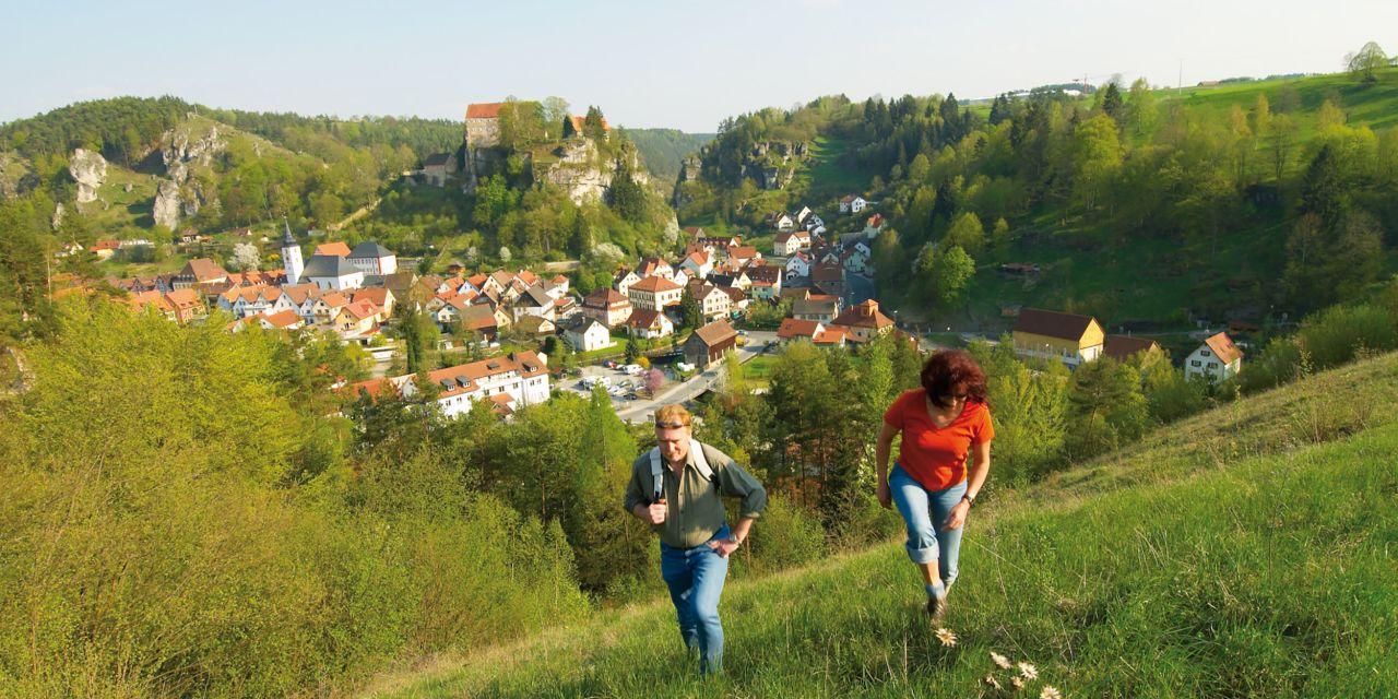 Blick auf Pottenstein in der Fränkischen Schweiz