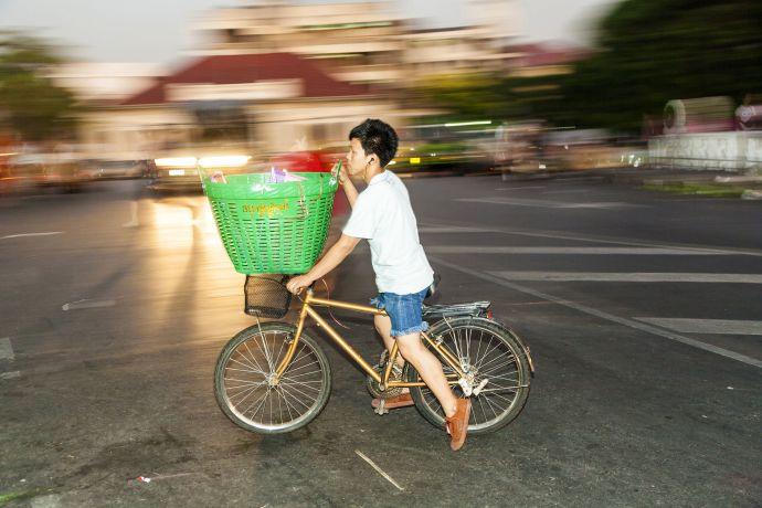 Fahrradfahrer in Bangkok