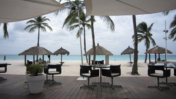 Blick auf den Pool des Hotels Bucuti & Tara Beach Resort