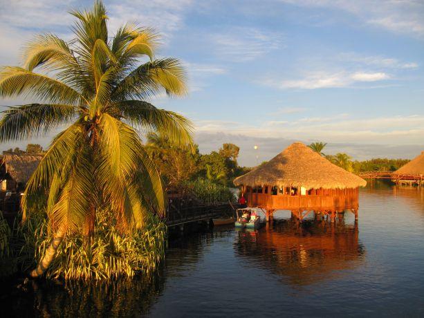 Pfahlhäuser im Wasser neben einer Palme