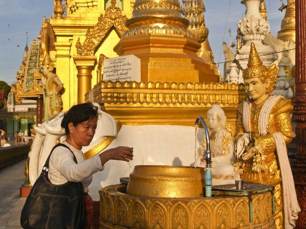 Gläubige Frau bei der Yangon Shwedagon Pagode