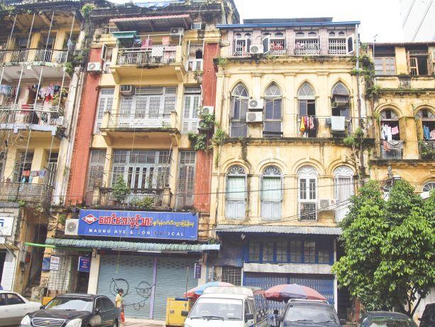 Kolonial geprägte Altstadt in Yangon