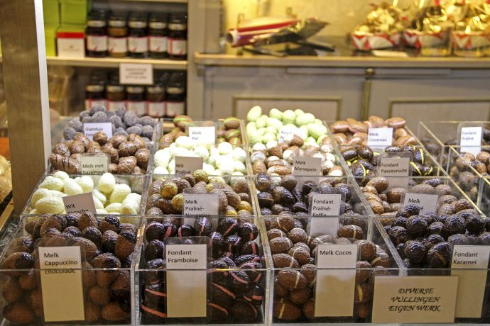Spezialitätenauswahl des Chocolatier Spegelaere in Brügge
