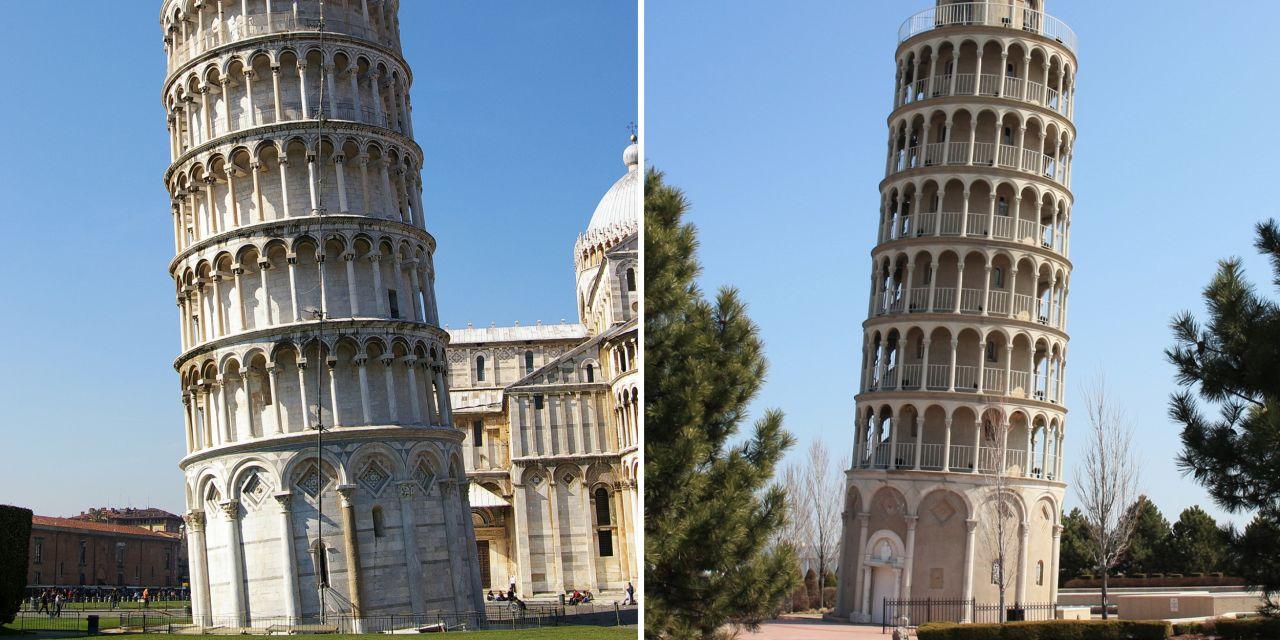 Schiefer Turm von Pisa und in Niles