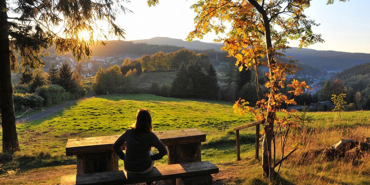 Der Rennsteig: Aussicht vom Goethe Weg und Rennsteig bis Stützerbach