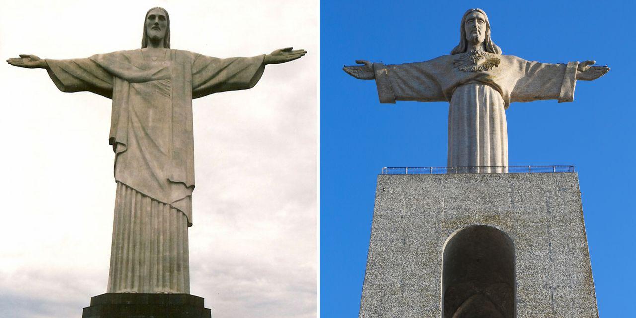 Christus-Statue in Rio und Almada