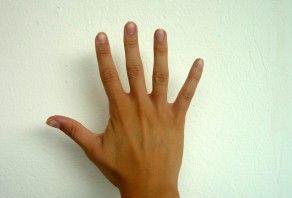 Handzeichen fünf Finger