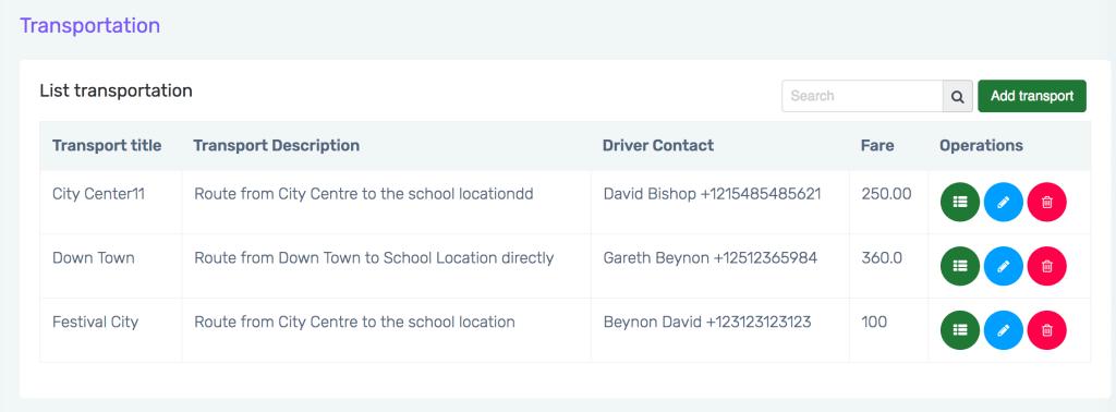 school Transportation management setting