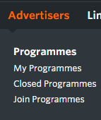 advertisers menu awin interface