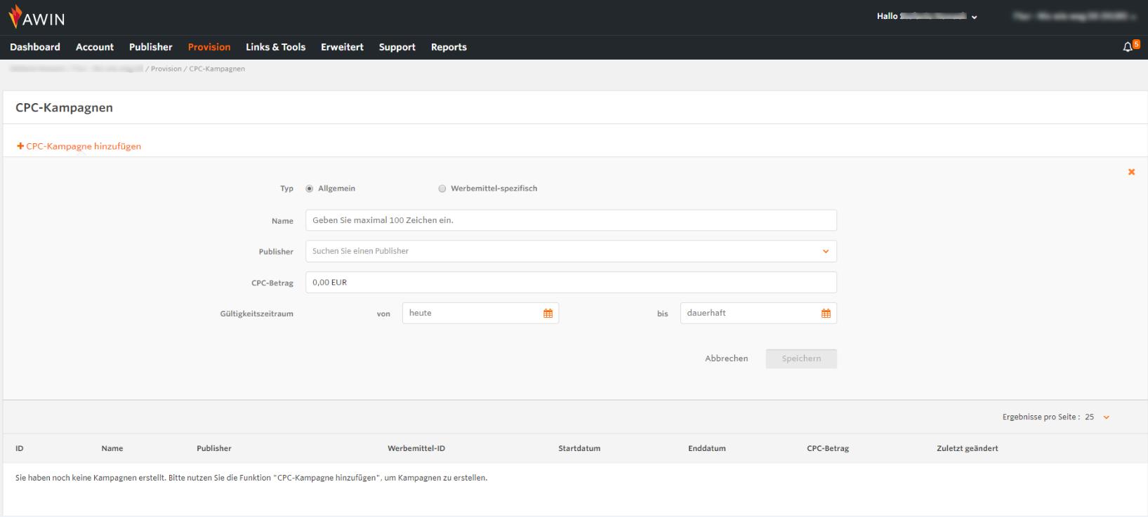 Screenshot vom CPC Manager auf der Awin Plattform