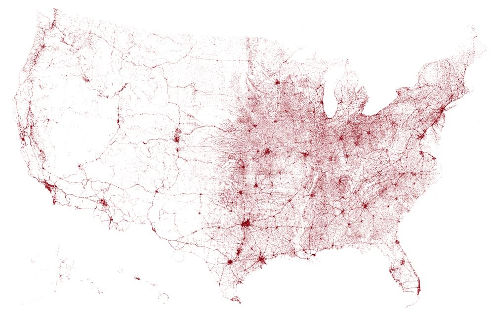 A map of all the bridges in the United States of America
