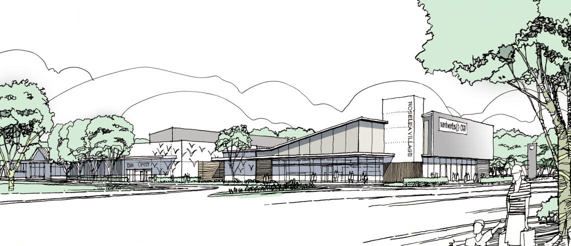 Artists impression of Roselea Shopping Centre