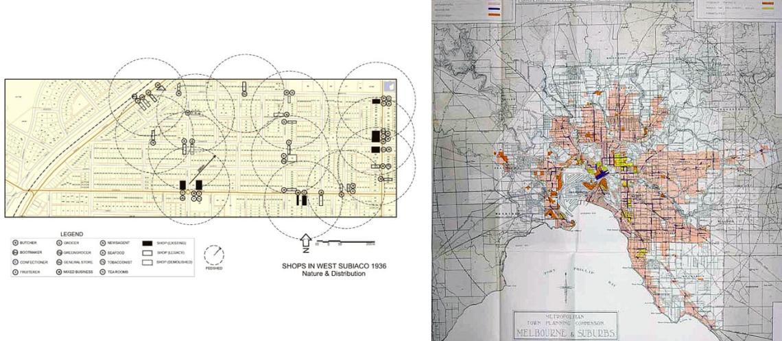 Early maps of retail stores in Subiaco and Melbourne.