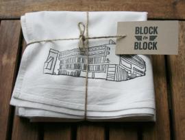 White Modern Architecture Recycled Flour Sack Tea Towel of Sainte Marie de la Tourette