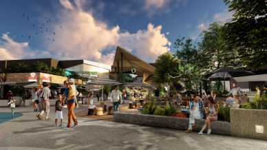 Exterior rendering of Karingal Hub Shopping Centre Redevelopment | Retail Architecture