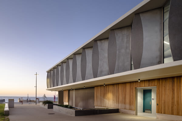 Scarborough Surf Life Saving Club concrete fins inspired by surfboards and waves.