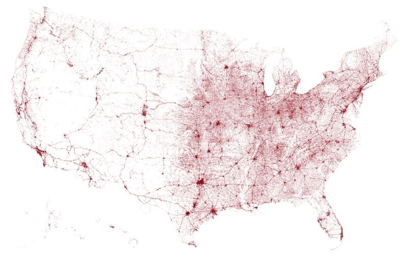 {A map of all the bridges in the United States of America