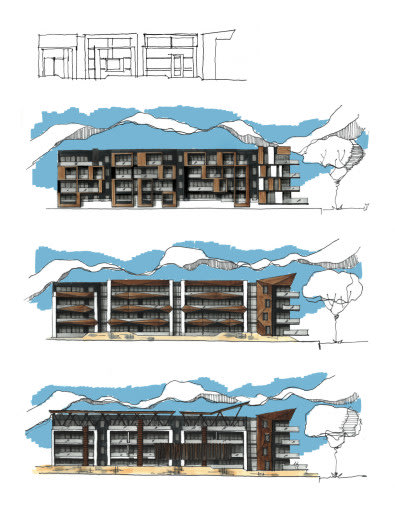 {Hand-drawn architectural sketches